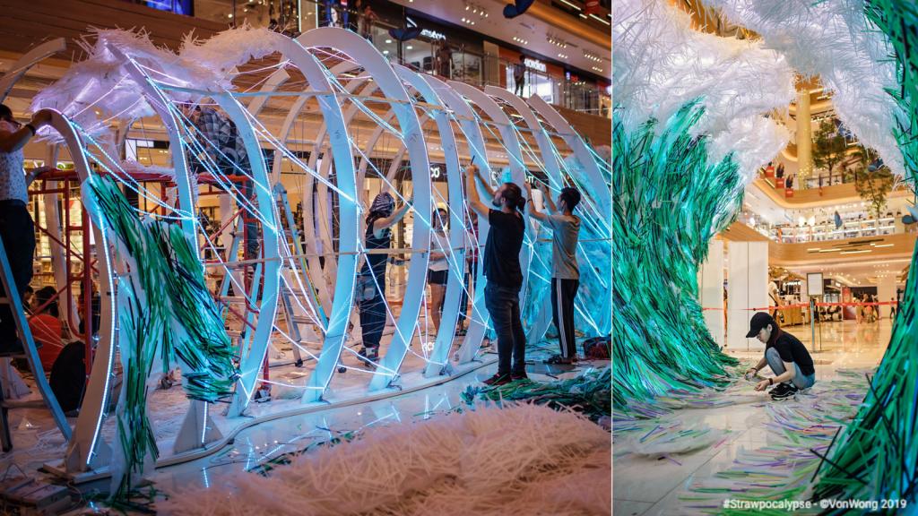 Benjamin Von Wong Installation Strawpocalypse from used plastic straws